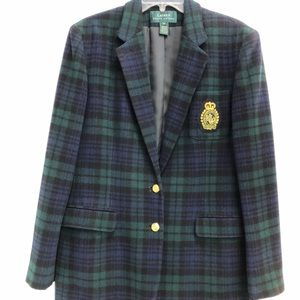 LAUREN Ralph Lauren Classic BlueGreen Plaid Blazer